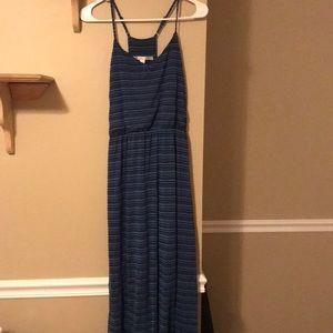 Blue striped maxi dress